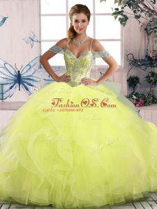 High End Off The Shoulder Sleeveless Side Zipper Quinceanera Dress Yellow Green Tulle