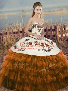 Nice Organza Sleeveless Floor Length Vestidos de Quinceanera and Embroidery and Ruffled Layers and Bowknot