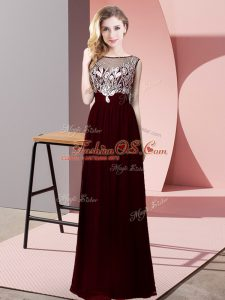 Modest Burgundy Scoop Backless Beading Mother Of The Bride Dress Sleeveless