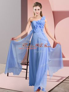 Sumptuous One Shoulder Sleeveless Lace Up Damas Dress Blue Chiffon