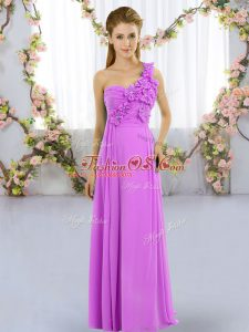 Romantic Lilac Damas Dress Wedding Party with Hand Made Flower One Shoulder Sleeveless Lace Up