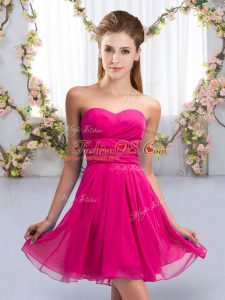 Sleeveless Mini Length Ruching Lace Up Bridesmaid Gown with Fuchsia