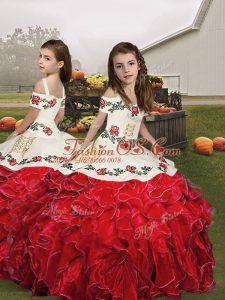 Sleeveless Floor Length Embroidery and Ruffles Lace Up Kids Formal Wear with Red