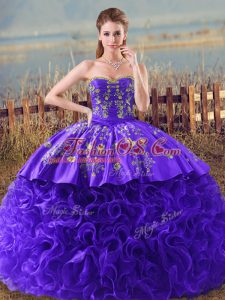 Pretty Embroidery and Ruffles Sweet 16 Dress Purple Lace Up Sleeveless Brush Train
