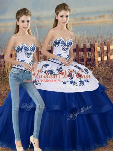 Beautiful Floor Length Royal Blue Quince Ball Gowns Sweetheart Sleeveless Lace Up
