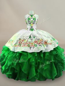 Spectacular Sleeveless Organza Floor Length Lace Up Sweet 16 Quinceanera Dress in Green with Embroidery and Ruffles