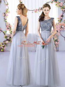 Grey Lace Up Vestidos de Damas Appliques Sleeveless Floor Length