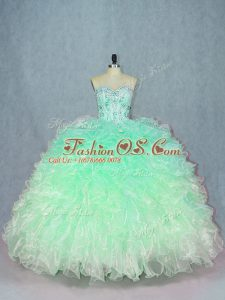 Sweet Sleeveless Organza Floor Length Lace Up Quinceanera Gowns in Green with Beading and Ruffles