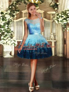 Tulle Scoop Sleeveless Backless Lace and Ruffles Celebrity Prom Dress in Multi-color