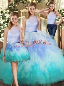 Spectacular Tulle High-neck Sleeveless Backless Ruffles Sweet 16 Quinceanera Dress in Multi-color