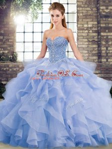 Lavender Ball Gowns Sweetheart Sleeveless Tulle Brush Train Lace Up Beading and Ruffles Vestidos de Quinceanera