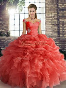 Orange Red Sweet 16 Dresses Military Ball and Sweet 16 and Quinceanera with Beading and Ruffles and Pick Ups Off The Shoulder Sleeveless Lace Up