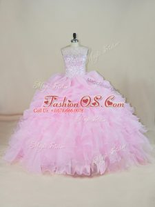 Custom Fit Pink Ball Gown Prom Dress Sweet 16 and Quinceanera with Beading and Ruffles Scoop Sleeveless Brush Train Backless