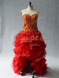 Exquisite Wine Red Sleeveless Beading and Ruffles High Low Dress for Prom