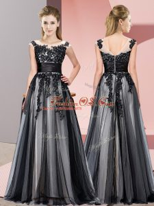 Classical Black Sleeveless Tulle Zipper Bridesmaid Dress for Wedding Party