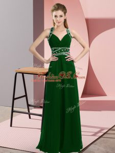 Suitable Dark Green Straps Backless Beading Prom Evening Gown Sleeveless