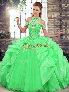 Smart Green Lace Up Halter Top Beading and Ruffles Quinceanera Dresses Organza Sleeveless