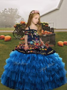 Sleeveless Organza Floor Length Lace Up Little Girls Pageant Dress Wholesale in Blue with Embroidery and Ruffled Layers