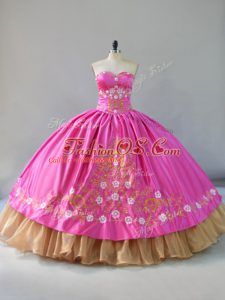 Sleeveless Floor Length Embroidery Lace Up Vestidos de Quinceanera with Rose Pink