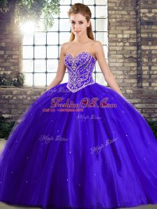 Sleeveless Tulle Brush Train Lace Up 15th Birthday Dress in Blue with Beading