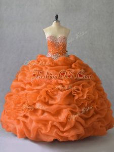 Sweetheart Sleeveless Lace Up Vestidos de Quinceanera Orange Organza