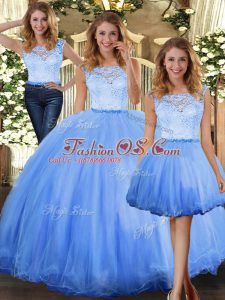 Best Blue Three Pieces Tulle Scoop Sleeveless Lace Floor Length Clasp Handle Ball Gown Prom Dress