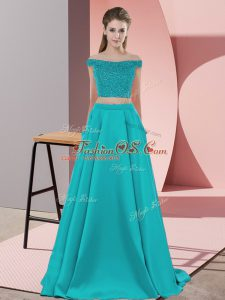 Discount Sleeveless Elastic Woven Satin Sweep Train Backless Prom Dresses in Teal with Beading