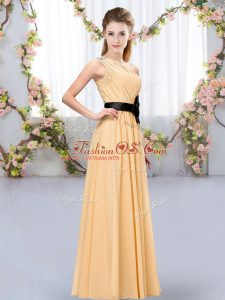 Sleeveless Chiffon Floor Length Zipper Dama Dress for Quinceanera in Orange with Belt