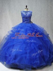 Luxurious Royal Blue Ball Gowns Scoop Sleeveless Tulle Brush Train Lace Up Beading and Ruffles 15 Quinceanera Dress