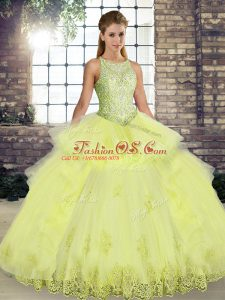 Best Sleeveless Floor Length Lace and Embroidery and Ruffles Lace Up Sweet 16 Dress with Yellow