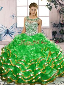Ball Gowns Quince Ball Gowns Green Scoop Organza Sleeveless Floor Length Lace Up