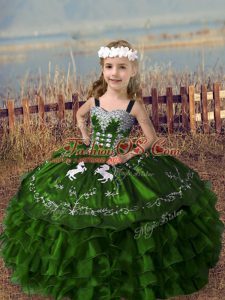 Custom Design Olive Green Sleeveless Embroidery and Ruffled Layers Floor Length Pageant Gowns For Girls