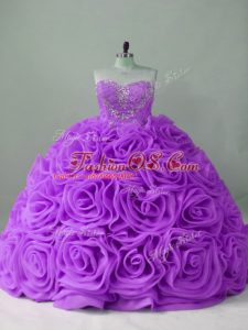 High Quality Lavender Lace Up Quince Ball Gowns Beading Sleeveless Brush Train
