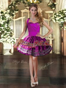High Quality Fuchsia Ball Gowns Halter Top Sleeveless Taffeta Mini Length Lace Up Embroidery Cocktail Dress