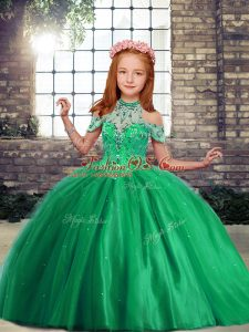 Sleeveless Tulle Floor Length Lace Up Kids Pageant Dress in Green with Beading