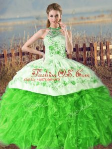 Lace Up Quince Ball Gowns for Sweet 16 and Quinceanera with Embroidery and Ruffles Court Train