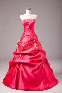 Superior Sleeveless Taffeta Floor Length Lace Up Quinceanera Gowns in Hot Pink with Beading and Appliques