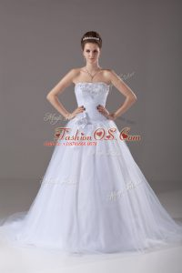 Delicate White Tulle Lace Up Sweetheart Sleeveless Wedding Gown Brush Train Beading and Hand Made Flower