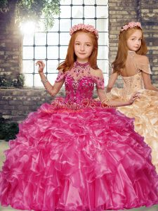 Sleeveless Beading and Ruffles Lace Up Little Girls Pageant Dress