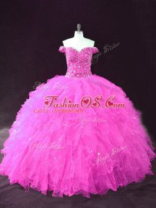 Charming Ball Gowns 15th Birthday Dress Fuchsia Off The Shoulder Tulle Sleeveless Floor Length Lace Up