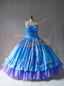 Sexy Blue Ball Gowns Embroidery Ball Gown Prom Dress Lace Up Satin and Organza Sleeveless Floor Length