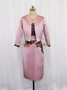 Pink Column/Sheath Lace and Appliques Mother Of The Bride Dress Zipper Satin Long Sleeves Mini Length