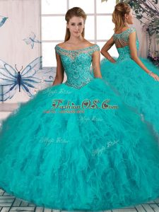 Brush Train Ball Gowns 15 Quinceanera Dress Aqua Blue Off The Shoulder Tulle Sleeveless Lace Up