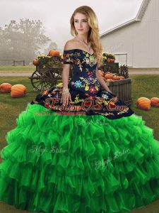 Captivating Green Quinceanera Gown Military Ball and Sweet 16 and Quinceanera with Embroidery and Ruffled Layers Off The Shoulder Sleeveless Lace Up