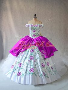 Traditional White And Purple Ball Gowns Organza Off The Shoulder Sleeveless Embroidery and Ruffles Floor Length Lace Up Sweet 16 Quinceanera Dress