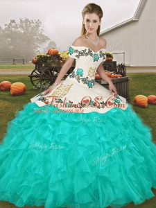 Turquoise Sleeveless Embroidery and Ruffles Floor Length 15 Quinceanera Dress