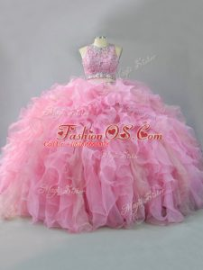 Floor Length Pink Sweet 16 Quinceanera Dress Scoop Sleeveless Lace Up