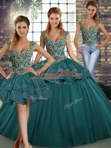 Shining Straps Sleeveless Sweet 16 Quinceanera Dress Floor Length Beading and Appliques Green Tulle