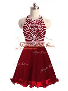 Extravagant Wine Red Chiffon Lace Up Halter Top Sleeveless Mini Length Homecoming Dress Beading