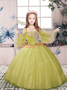 Perfect Olive Green Tulle Lace Up High School Pageant Dress Sleeveless Floor Length Beading